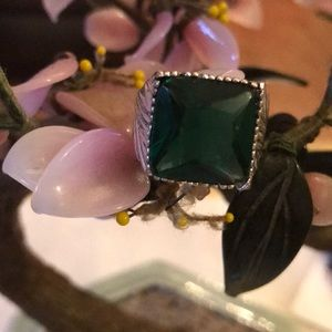 Vintage 925 chrome diopside ring